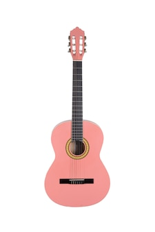 흰색 배경 위에 절연 핑크 나무 어쿠스틱 기타