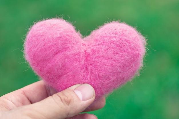 夏の日の屋外の緑の自然の背景に指で保持されているピンクの羊毛の心