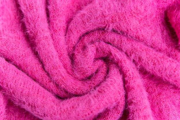 Pink woolen texture surface