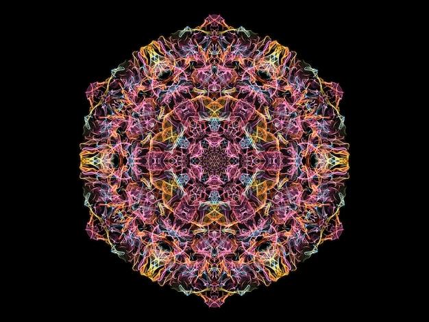 ピンク、黄色、青の抽象的な炎のマンダラの花、装飾的なラウンドパターン