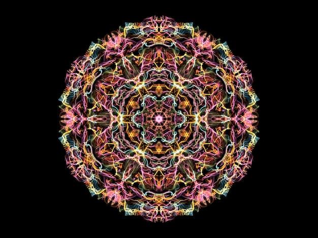 ピンク、黄色、青の抽象的な炎のマンダラの花