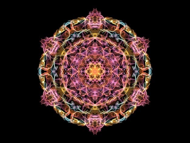 Pink, yellow and blue abstract flame mandala flower