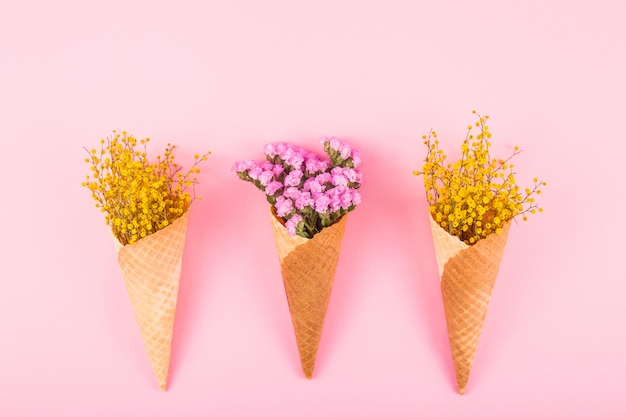 Pink and yellow flowers in waffle cones for ice cream on a bright background. top view, flat lay