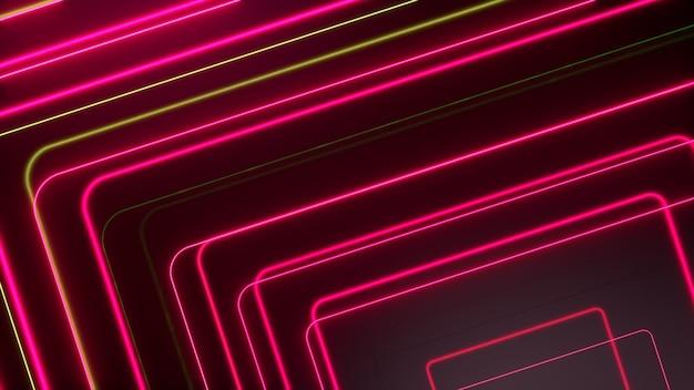 ピンクイエローの輝くネオンラインは、ハイテクの未来的な動きを抽象化します