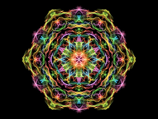 ピンク、黄色、緑、青の抽象的な炎の曼荼羅の花、黒のネオン装飾花の六角形のパターン