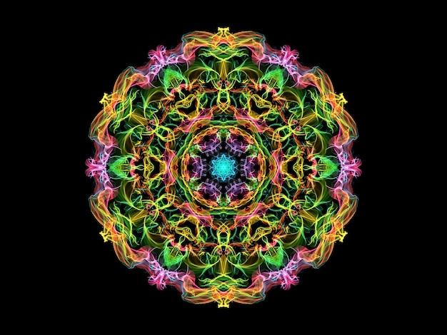 ピンク、黄色、緑、青の抽象的な炎の曼荼羅の花