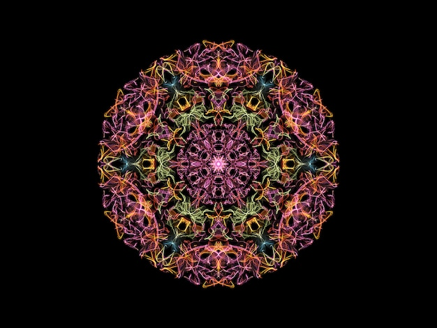 Pink,  yellow, green and blue abstract flame mandala flower, ornamental floral round pattern