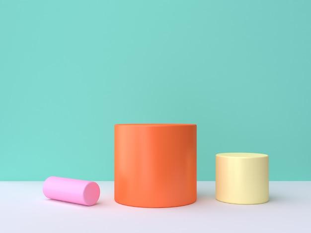Розовый желтый оранжевый красочный цилиндр зеленый сцена минимальный 3d рендеринг