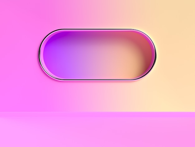 Pink yellow wall gradient abstract 3d rendering scene