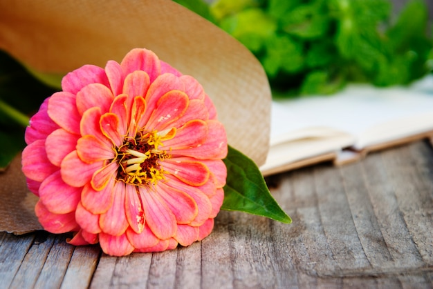Pink zinnia flower over old wooden  with copyspace.