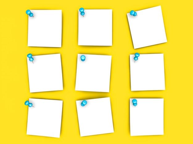 固定された紙のメモ。 3dレンダリングされたイラスト。