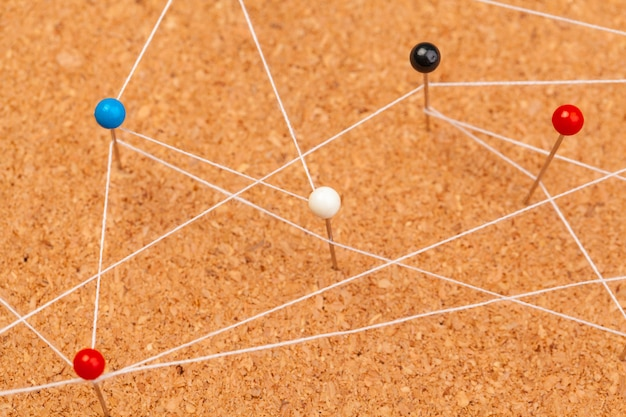 Pins connected creating a network