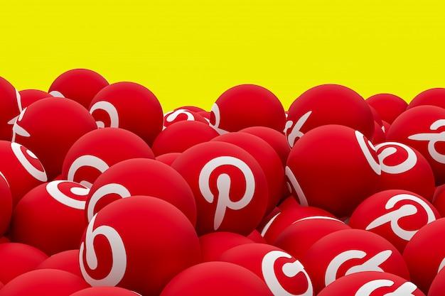 Pinterest логотип смайликов 3d визуализации на прозрачном фоне, символ социальных медиа шар с интересом