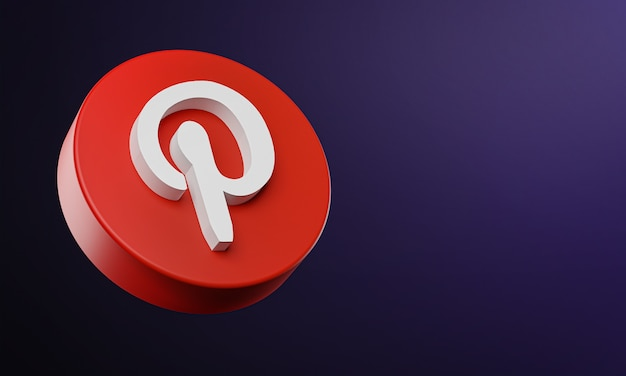 Pinterest circle button icon 3d with copy space