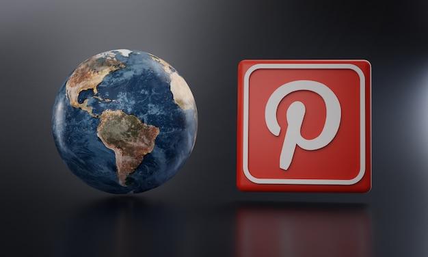 Логотип pinterest рядом с earth render.