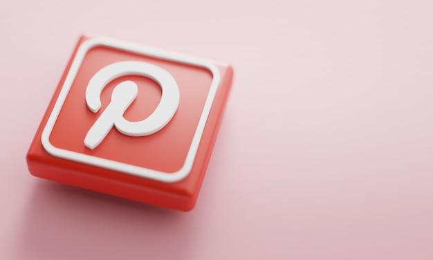 Pinterestロゴ3dレンダリングクローズアップ。アカウントプロモーションテンプレート。