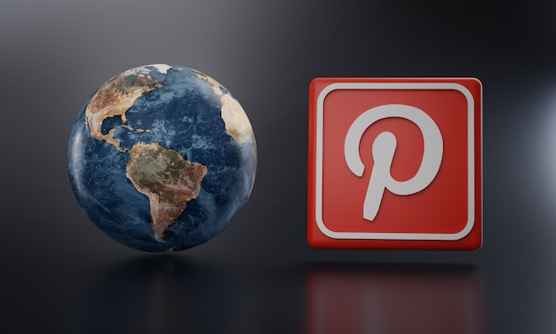 Pinterest logo beside earth render.