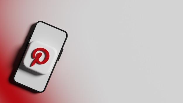 전화 화면 배경 프리미엄 사진의 pinterest 로고 버튼