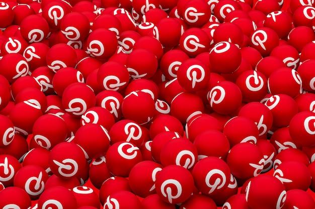 Pinterest логотип смайлики 3d визуализации фона, символ воздушного шара в социальных сетях с pinterest