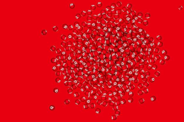 Pinterest logo emoji 3d render на прозрачном фоне, символ воздушного шара в социальных сетях с pinterest