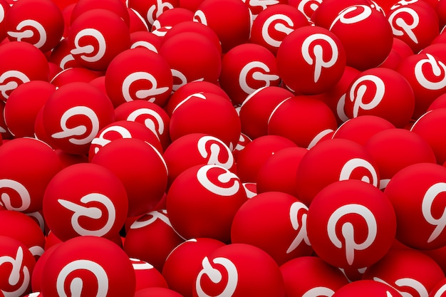Pinterest logo emoji 3d render on transparent background, social media balloon symbol with pinterest