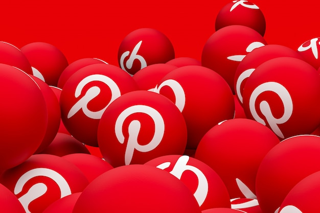 Pinterest logo emoji 3d render on transparent background,social media balloon symbol with pinterest