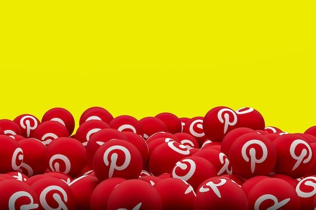 Pinterest logo emoji 3d render on transparent background,social media balloon symbol with pinterest