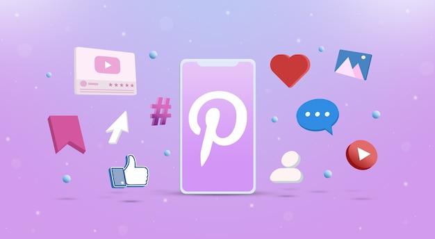 Значок логотипа pinterest на телефоне с значками социальных сетей вокруг 3d
