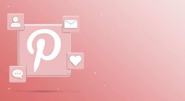 Значок логотипа pinterest с активностью 3 в социальных сетях