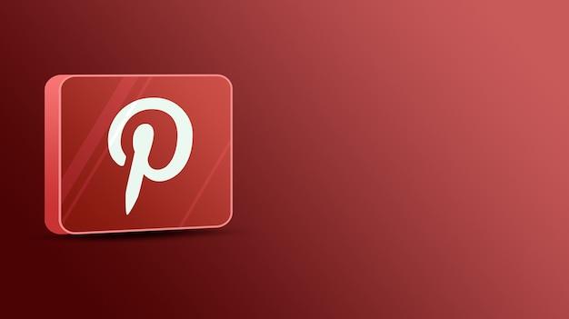 유리 플랫폼의 pinterest 로고 3d