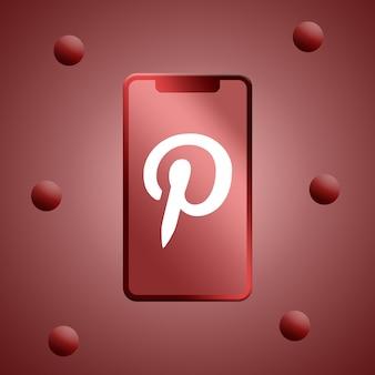 電話スクリーンのpinterestロゴ3dレンダリング