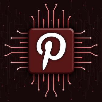 현실적인 cpu 기술 배경 3d에 pinterest 로고