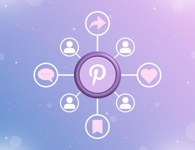 Логотип pinterest в социальных сетях на круглой кнопке с типами социальных действий и значками пользователей 3d