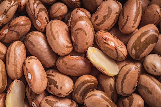 Pinto beans in closeup photo with top view