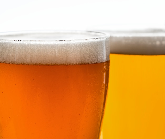Pints of draught beer macro photography