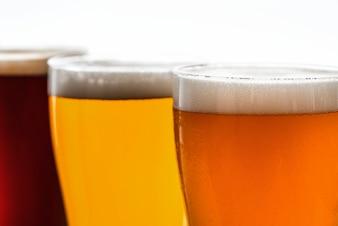Pints of draught beer macro