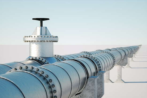 The pipeline on a light wall, the transportation of oil and gas through pipes. technology, politics, raw materials, economics. copy space. 3d render, 3d illustration.