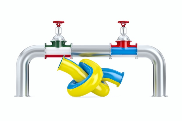 Pipeline between russia and hungary on white background. isolated 3d illustration