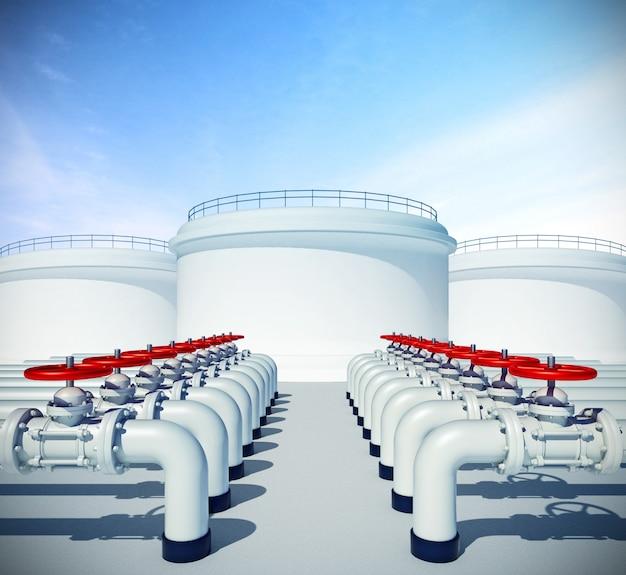 赤いバルブ付きのパイプライン。背景に燃料または石油産業用ストレージ