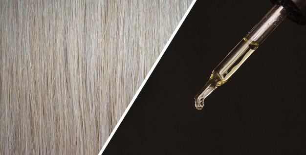 Пипетка с косметическим маслом и текстурой светлых волос
