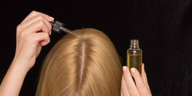 Пипетка с косметическим маслом для волос и части головы