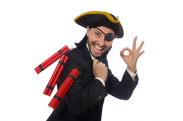 Pirate in black suit holding bomb isolated on white