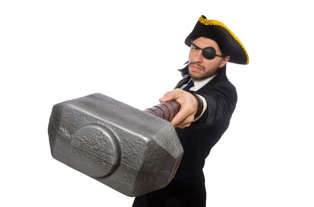 Pirate businessman holding hammer isolated on white
