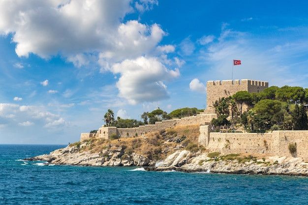 Pirate castle on pigeon island in kusadasi Premium Photo