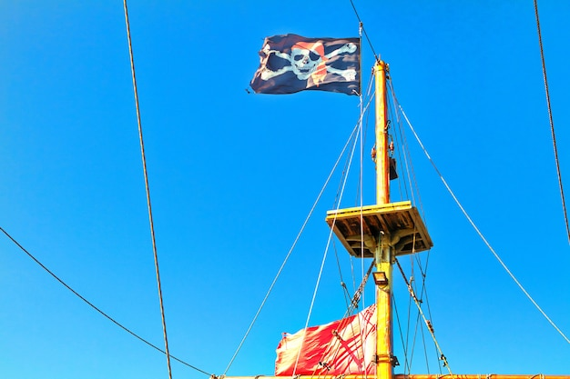 Pirate flag hoisted against blue sky