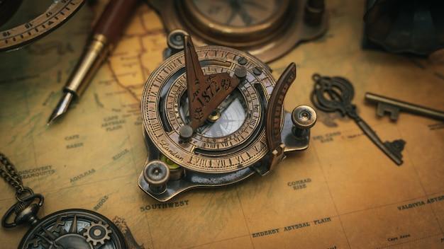 Pirate nautical brass compass