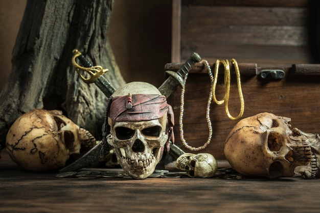 Pirate skull with two swords and treasure coffer