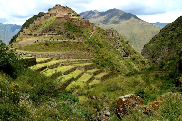 Pisac archaeological site in sacred valley of cusco region, peru
