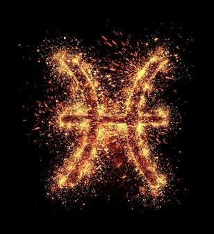 うお座のシンボルの火花は黒に分離されています