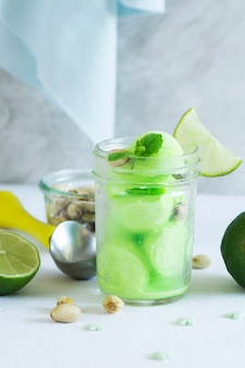 Pistachio sorbet with lime and mint